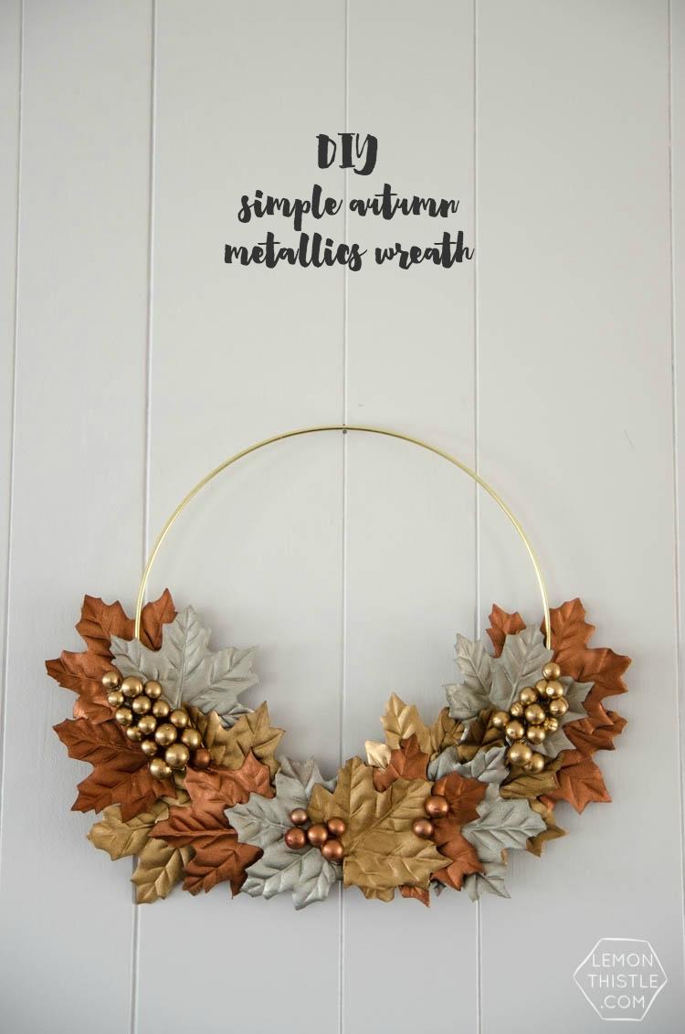 DIY Simple Autumn Metallic Wreath Tutorial from Lemon Thistle