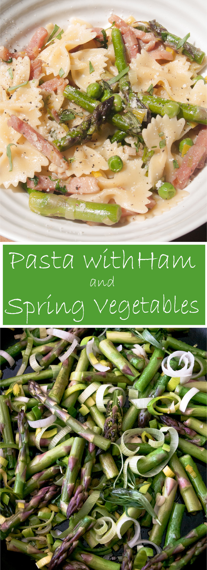 Pasta with Ham and Spring Vegetables. A family favorite pasta dinner recipe with ham and asparagus, leeks and peas. A delicious medley of spring vegetables. Perfect for any night of the week.