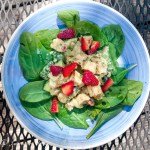 Grilled chicken salad with yogurt avocado dressing. Chicken salad recipe gets a remake with grilled chicken, fresh cucumbers and tangy but creamy yogurt avocado dressing. Add some fresh strawberries for a very refreshing salad which no one will believe was made with leftovers from last night's dinner.