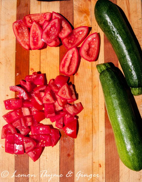 Fennel and Chickpea Ratatouille Recipe, tomatoes and zucchini.