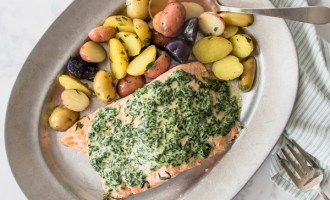 Salmon with Spinach Butter Sauce recipe.