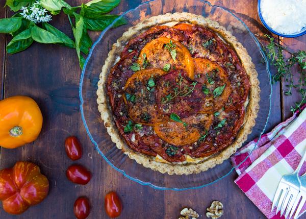 Tomato Tart recipe with Ricotta and Mediterranean Spices.