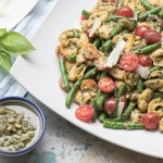 Tortellini with Basil pesto, grape tomatoes and green beans reicpe.