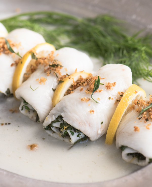 Oven Poached Sole Wrapped in Herbs, recipe.