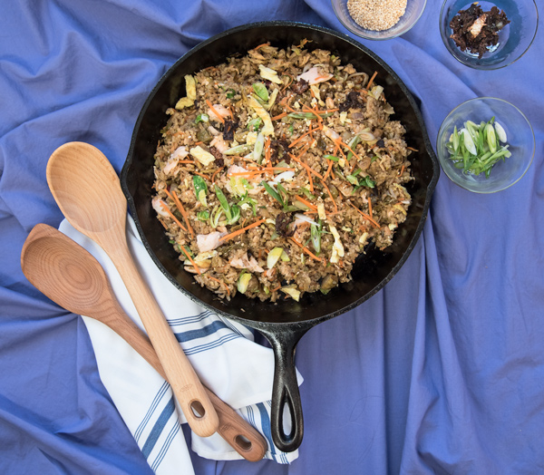Fried Rice with Salmon and Brussels Sprouts, recipe.