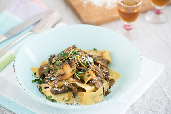 Pappardelle with Sherry Mushroom Sauce, a recipe.