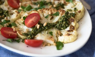 Seared Cauliflower with Vibrant Kale Parsley Sauce, a recipe.