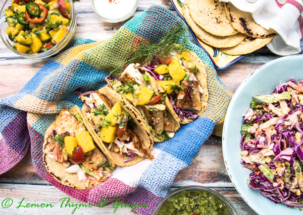 Earth Day Friendly Recipes, Seared Fish Tacos with Avocado Mango Salsa