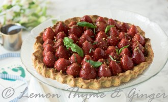 Gluten Free Strawberry Tart with Pistachio Crust and recipe.