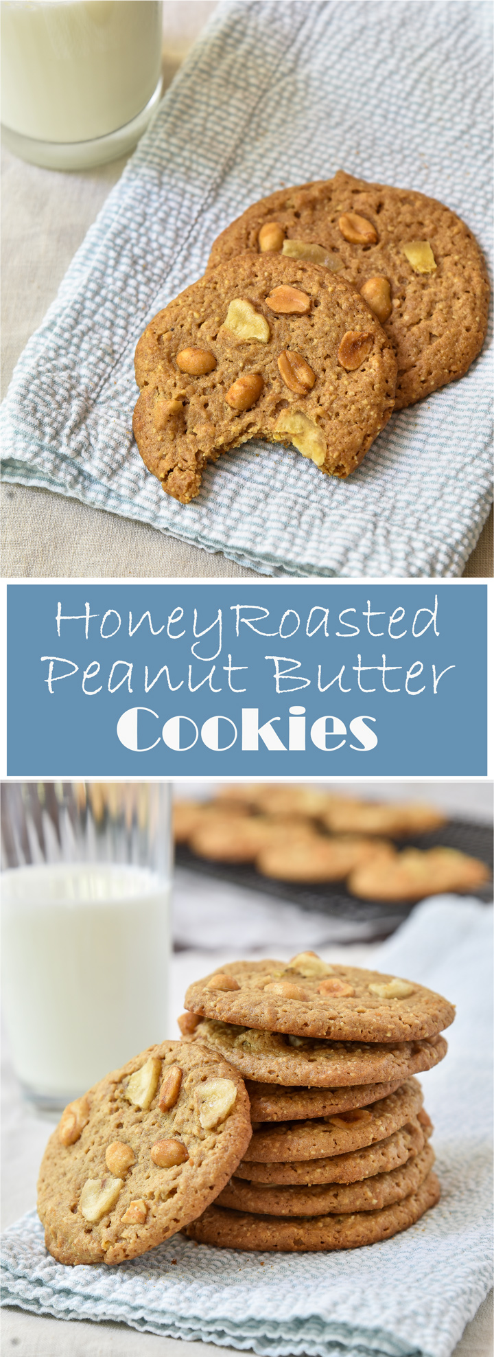 Honey Roasted Peanut Butter Cookies with Bananas. Recipe for peanut butter cookies made with honey roasted peanuts, They are light and full of that warm honey peanut butter flavor topped of with banana chips. Gluten free option available in recipe.