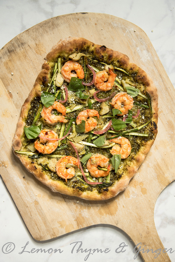 Pesto Shrimp Pizza recipe.