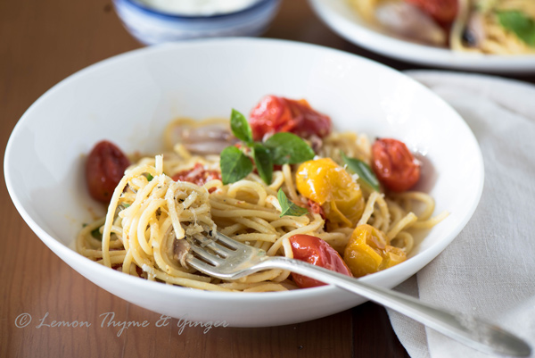 Spaghetti with Roasted Cherry Tomatoes with Fresh Herbs, recipe.