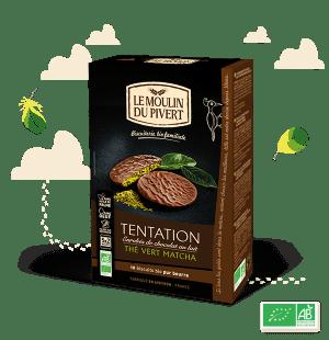 Biscuits Tentation au chocolat au lait et thé vert matcha Bio & équitable