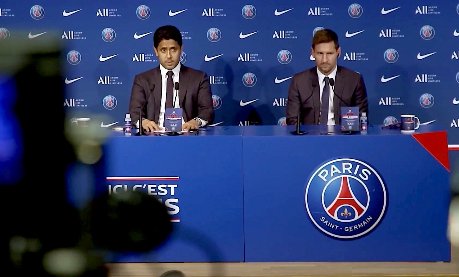 Nasser al-Khelaïfi et Lionel Messi (©psgtv)