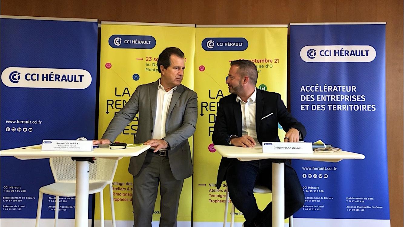 André Deljarry, Président de la CCI Hérault Gregory Blanvillain, Président de la Commission Réseaux de la CCI Hérault (©JPV)