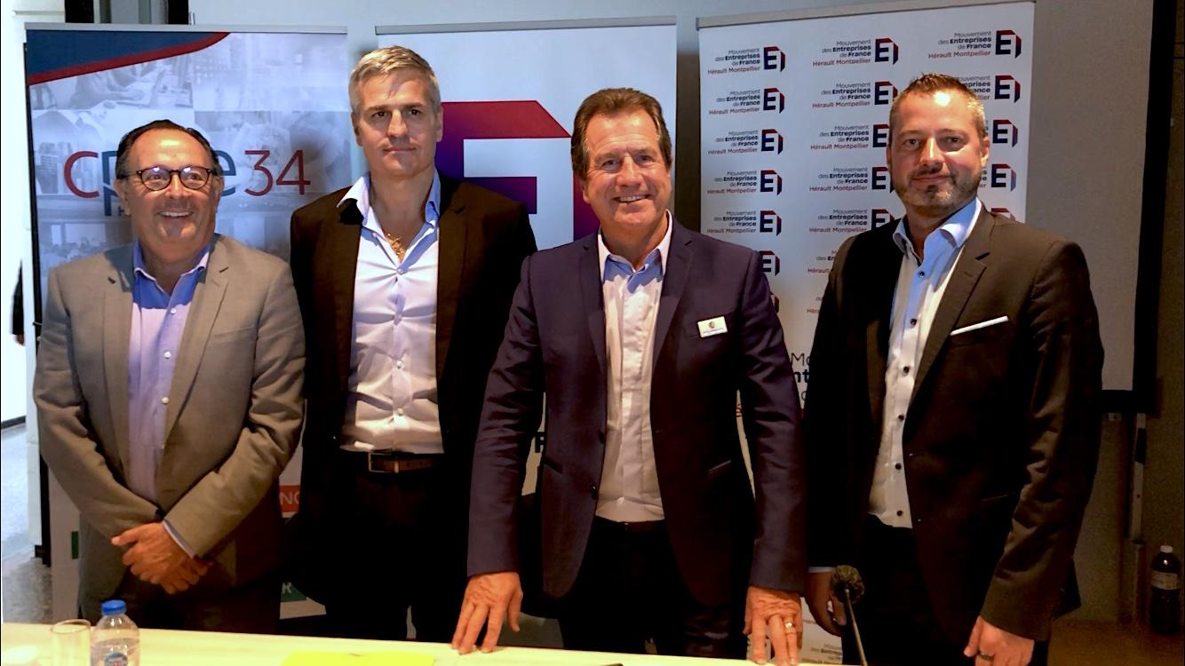 Jean-Marc Oluski, Président du Medef Montpellier, Matthieu Ourliac, Président du Medef Béziers, André Deljarry Président de la CCI Hérault et Grégory Blanvillain, Président de la CPME Hérault (©JPV)
