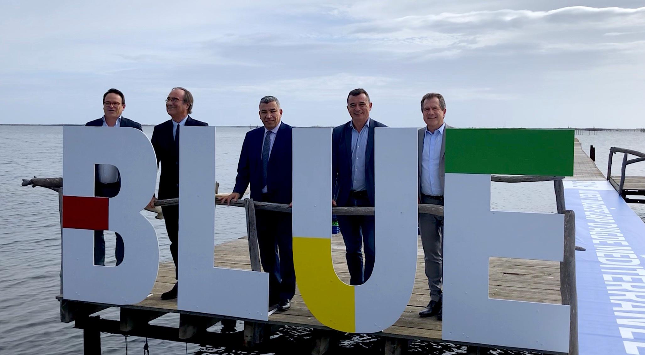 Lancement de BLUE Agenced'attractivitééconomique, Sète Cap d'Agde Méditerranée. Pascal Pintre, François Commeinhes, Jalil Benabdillah, Gilles d'Ettore, André Deljarry (©JPV)