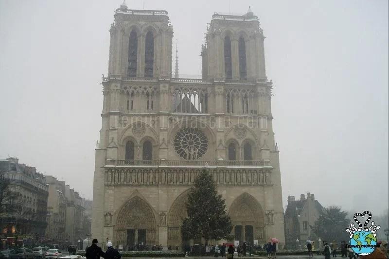 Nostre Dame Parigi in una giornata d'inverno