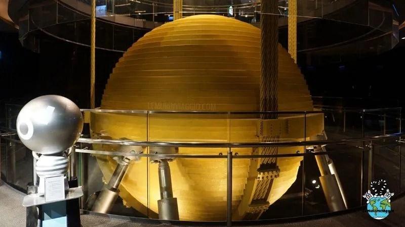 Una grande sfera all'interno del grattacielo Taipei 101 funge da smorzatore in caso di terremoto o tifoni