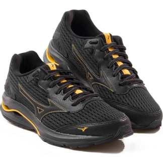 tenis masculino mizuno preto com amarelo