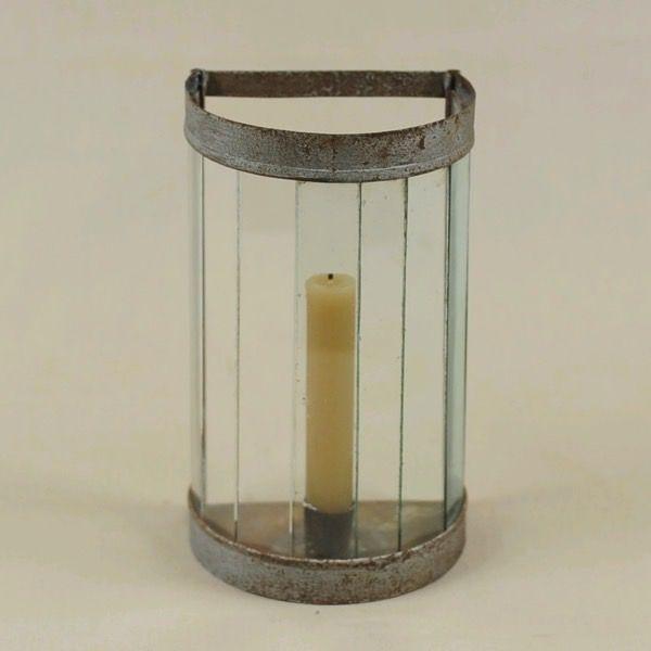 Portacandela vintage in ferro e vetro versione piccola