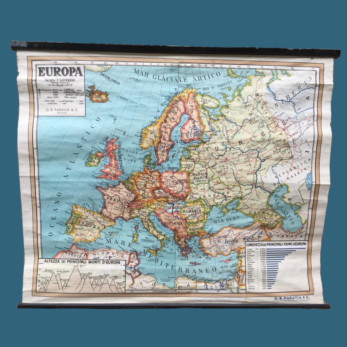 Cartina Delleuropa.Cartina Vintage Dell Europa Anno 1961 Le Muse Di Francesca