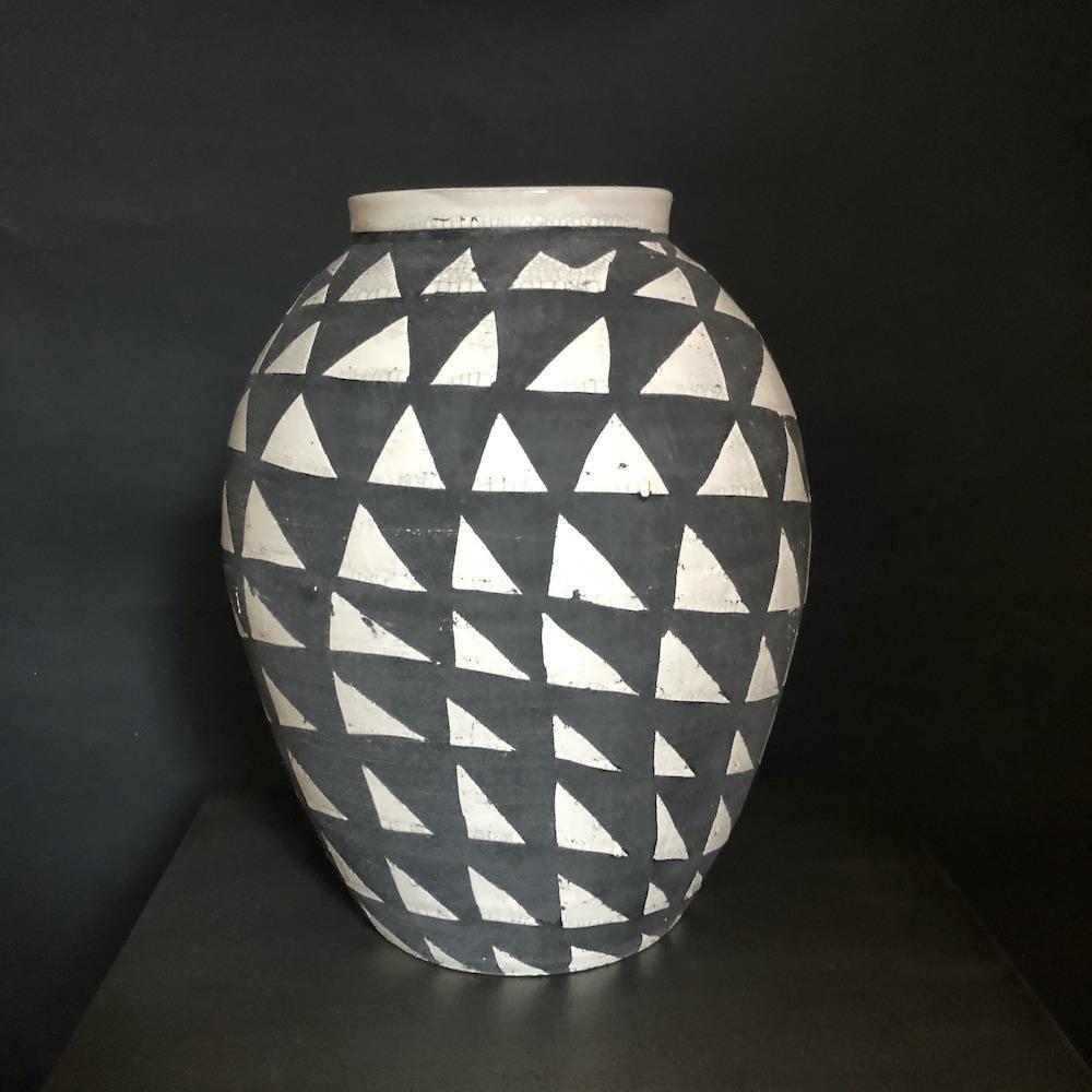 vaso bianco grigio L