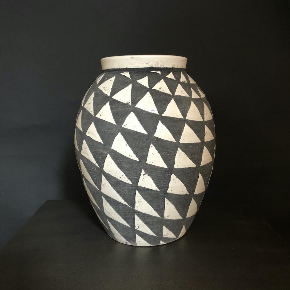 vaso bianco grigio S