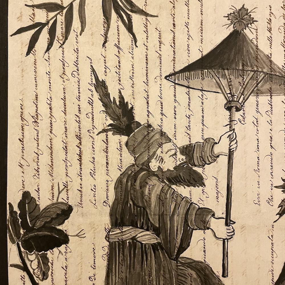 chinoiserie nera su manoscritto antico