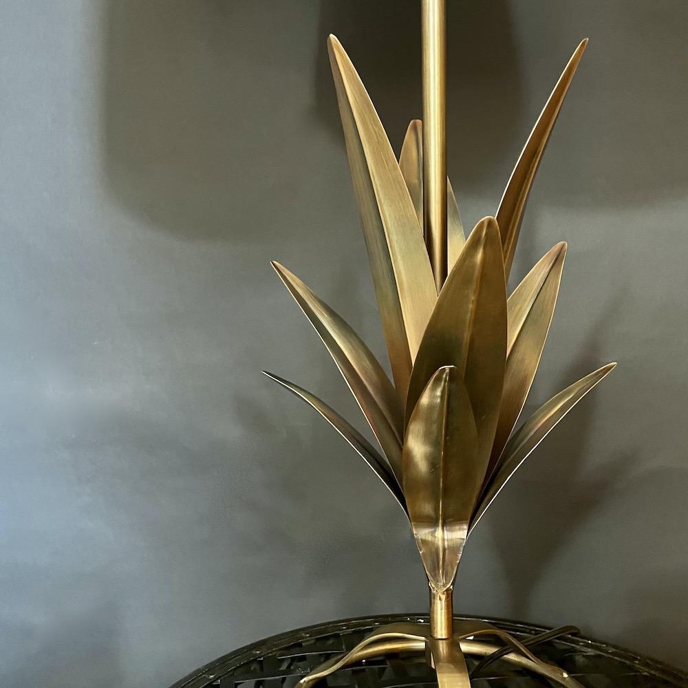 lampada metallo foglie Abaca