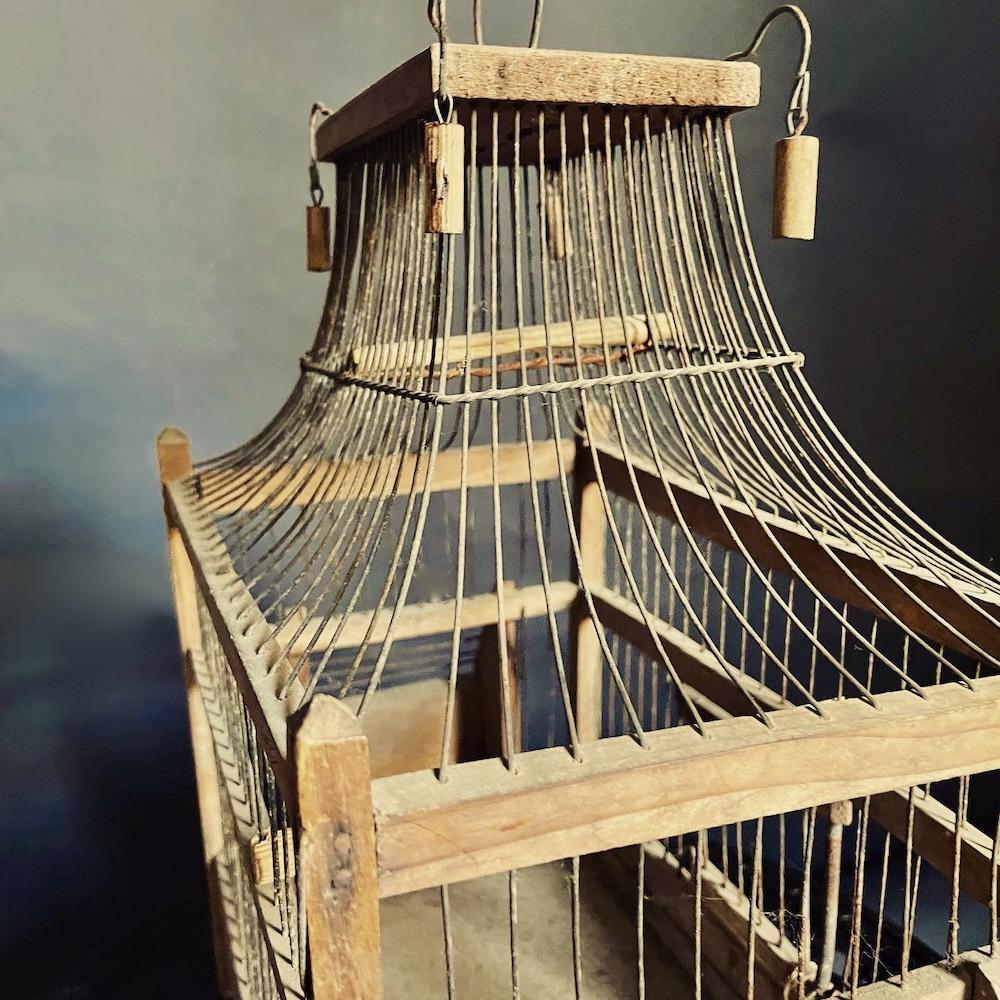 gabbia ferro legno vecchia