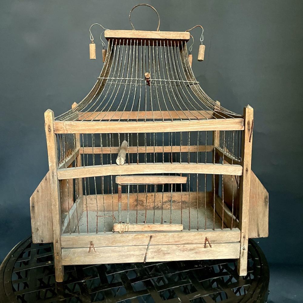 gabbia uccelli vintage legno