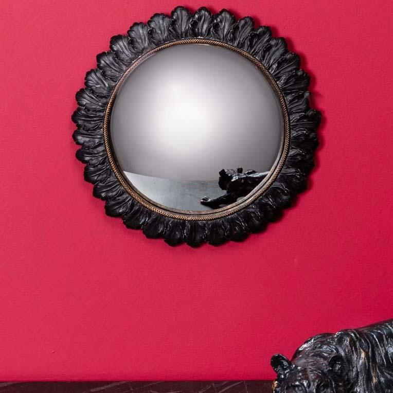 specchio convesso D28 foglie nere