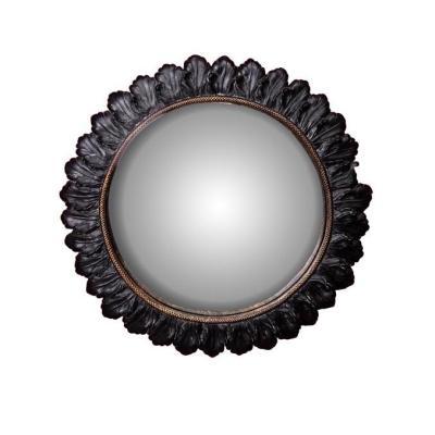 specchio convesso foglie nere D28