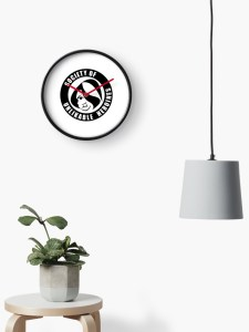 Circular wall clock with the Society of Unlikable Heroines logo in the center