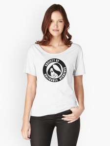 Woman wearing T-shirt with Society of Unlikable Heroines logo on the chest