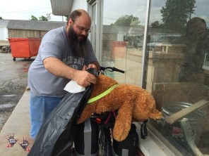 Rain coat for bear Bear before riding to Springfield