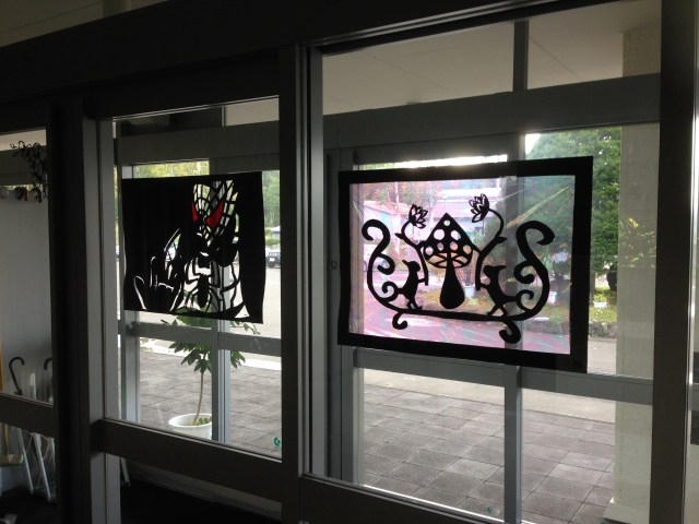 window decorations in the entryway