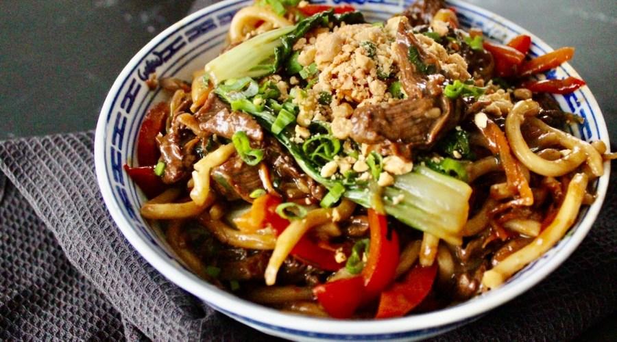 Rindfleisch Udon Pfanne