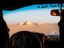 Driving into the Black and White Desert