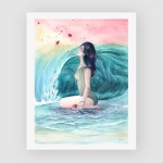 cold wave watercolour art gifts for her