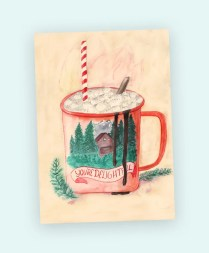 card delightful delicious hot chocolate marshmallows
