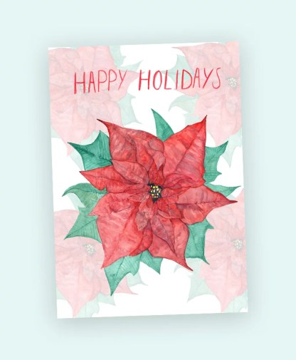 poinsettia christmas flower art watercolour card