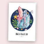 crystals illustration watercolour art postcard gifts for her magical