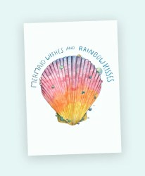 mermaid sihesh art card watercolour shell magic rainbow