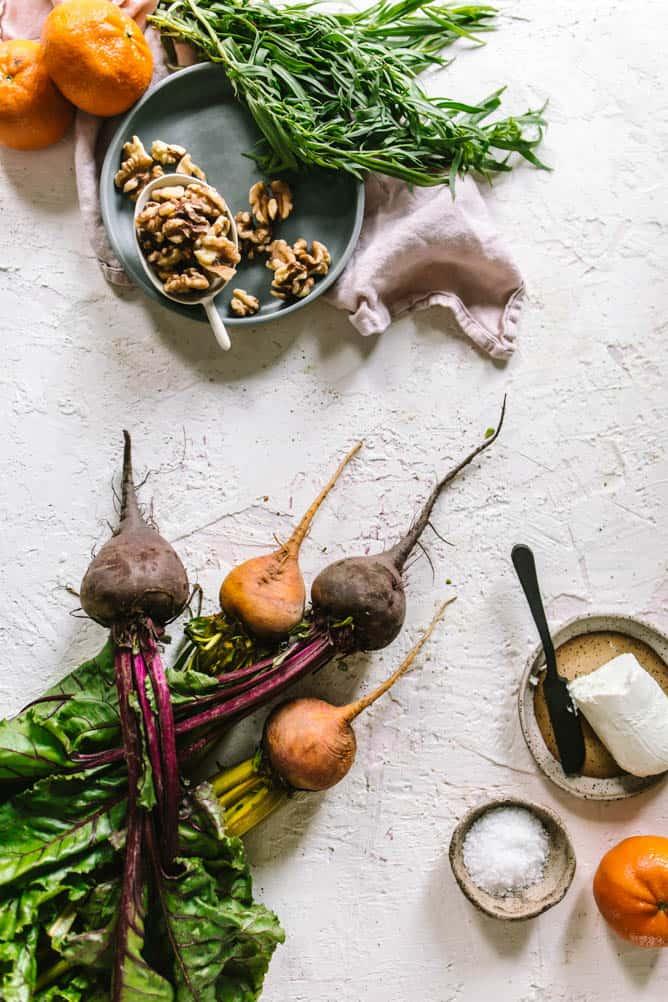 Fresh beet salad ingredients