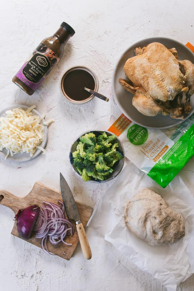Ingredients for CHICKEN & BROCCOLI GRILLED PIZZA
