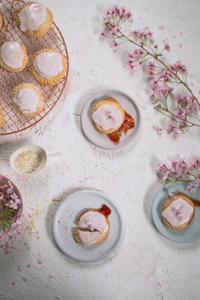homemade strawberry pop tarts with edible flowers
