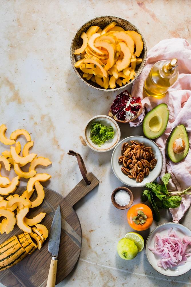 ingredients for delicata squash salad