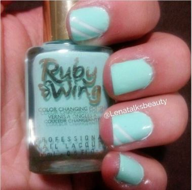 Ruby Wing colour changing polish in the shade Gypsy, over a Sally Hansen white on some nails